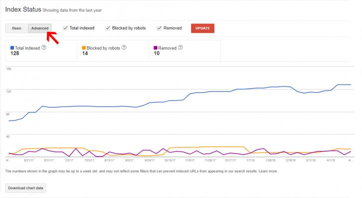 Google webmaster index status
